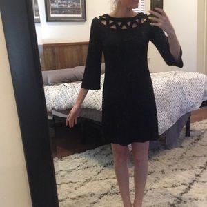 Black lattice detail dress